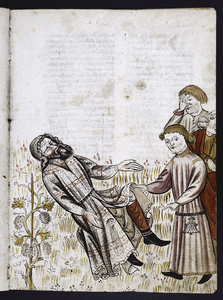 Full-page miniature of Noah's sons mocking him.