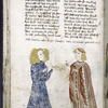 Text with placemarkers and rubric; miniature of Samson and Delilah.
