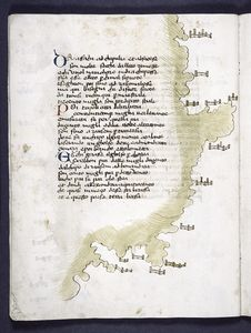 Text with red and blue initials, map with small drawings of unlabelled cities.