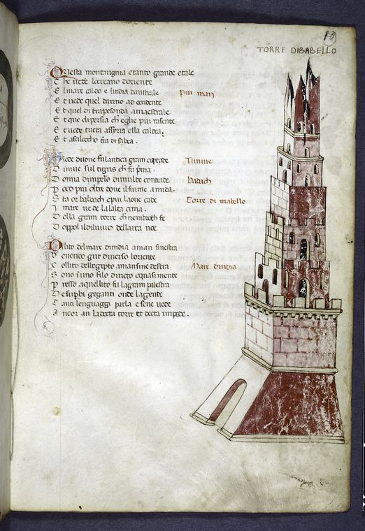 Page of text with rubrics, initials and drawing of Tower of Babel.