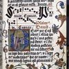 6-line blue initial on gold field, with flower design extending into border.  Miniature of King David.  Two lines of music.  Rubrics, small initials, placemarkers.