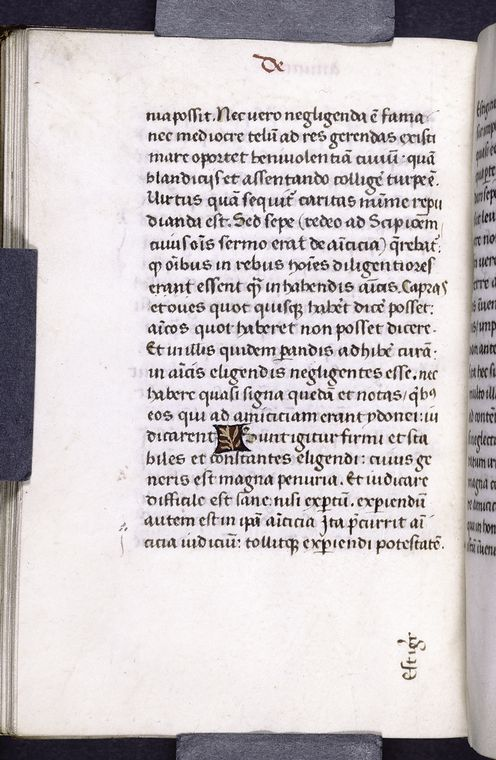 This is What Marcus Tullius Cicero and Page of text with catchword and 1-line red and gold placemarker Looked Like  in 1470