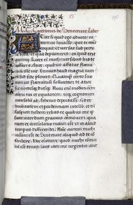 Quarter border, 3-line blue initial on red and gold field, rubric, opening of De senectute.