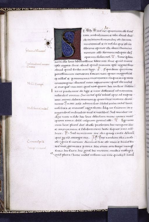 This is What Marcus Tullius Cicero and Second large initial one-line red initials notes in margin Looked Like  in 1401