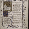 Opening of text.  Miniature on gold field, large and small initials, rubric, full border of vines and leaves.
