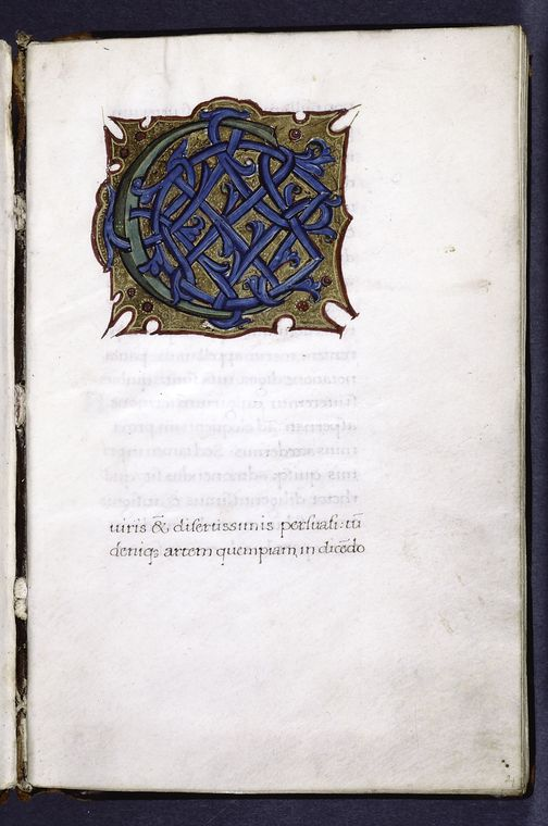 Very large green and blue initial on gold and red field; opening of text.
