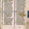 Page of text with initials, border design and quire number.