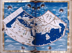 Map of Europe, Africa, the Mediterranean, and Asia.  Personifications of the winds.  Full gold border.