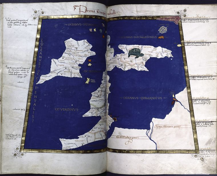 First map of Europe (Britain and Ireland).  Full gold border.