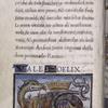 """Text, initials, """"rubric"""", small miniature of salamander, emblem of Francis I."""