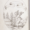 Emblem of Cupid with trees in his hands, near a tomb; banner left blank.
