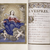 Full-page miniature of the Assumption of the Virgin, with opening of text for vespers, initials, rubrics, flower design.