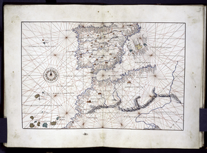Portolan map with some features of a land map, showing Spain and Northwest Africa.