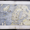 Map of Scandinavia, not in portolan style.  Perhaps copied from printed map of Scandinavia issued by Olaus Magnus in Venice, 1539.