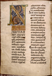 Opening of Nahum.  Initial with portrait of the prophet.  Hierarchy of scripts.