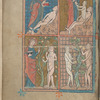 Full-page miniature with four scenes:  Creation of Adam; Creation of Eve; God warning Adam and Eve; Adam and Eve eating from the Tree of Knowledge.