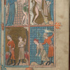 Full page miniature with four scenes:  Expulsion of Adam and Eve; Adam and Eve laboring outside the Garden; Cain and Abel making offerings; Cain slaying Abel.