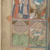 Full-page miniature with four scenes:  Noah told to build the ark; Ark being loaded; Flood; Ark being unloaded.