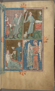 Full-page miniature with four scenes:  Abraham and Isaac; Sacrifice of Isaac; Isaac blessing Jacob; Jacob wrestling the angel.