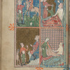 Full-page miniature with four scenes:  Joseph sold into slavery; Jacob seeing Joseph's coat; Joseph in Egypt; Potiphar's wife.