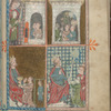Full-page miniature with four scenes:  Joseph in prison; Joseph's prophecy; Joseph interpreting Pharoah's dream; Joseph and Pharoah.