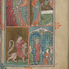 Full-page miniature with four scenes: Moses inscribing the Ten Commandments; the Golden Calf; Samson slaying the lion; Samson destroying the Temple of Dragon, fol. 6