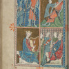 Full-page miniature with four scenes:  David and Goliath; David slaying Goliath; David playing his lyre; Solomon and two mothers.