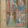Full-page miniature with three scenes:  Adoration of the Magi (in two upper compartments); Baptism of Christ; Entry into Jerusalem.