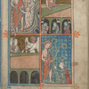 Full-page miniature with four scenes:  Christ in Limbo; Resurrection; Marys at the Tomb; Noli me tangere