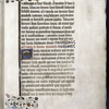 Opening of text (in mid-sentence), with 3-line initial, rubric, linefillers, and border design.
