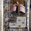 Miniature of saint with full border including grotesque figures  Initials, rubric, placemarkers.