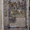 Miniature of St. George and the Dragon, with border design, rubric, placemarkers, initial.