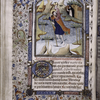 Miniature of St. Christopher, with border design, initial, rubric and placemarkers.