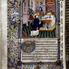 Miniature of the murder of Thomas a Becket, with border design, initials, rubrics and placemarkers.