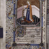 Miniature of St. Catherine, with border design, initials, rubric, placemarkers.
