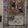 Miniature of Mary Magdalen, with border design, initials, rubric and placemarkers.