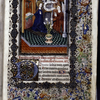 Miniature of the Annunciation, with border design, initials, rubric and placemarkers.