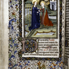 Miniature of the Visitation with border design, initials, rubrics and placemarkers.