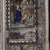 Miniature of the Nativity, with border design, initials, placemarkers, rubrics.