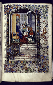 Miniature of the Massacre of the Innocents, with border design, initials, rubric, placemarkers.