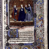 Miniature of the Coronation of the Virgin, with border design, initial, rubric, placemarkers.