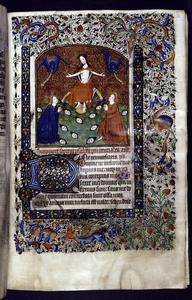 Miniature of Christ raising the dead, with border design, initials, rubrics, placemarkers.