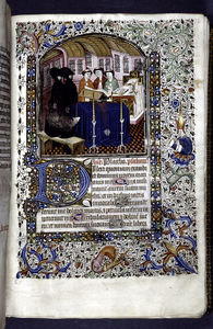 Miniature of mass for the dead, with border design, initials, rubrics, placemarker.