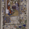Miniature of King David enthroned, harping (Psalm 1); with border including grotesques.  Large initial on gold, 1-line initials.