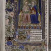 Miniature of Trinity as Two Persons and dove (Psalm 109); with full border design including birds, insects, and human figures.  Large initial on gold, small initials.