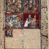 "Opening of text.  Large miniature showing four scenes.  Historiated initial.  Full border design including coats of arms and motto ""Sans nombre.""  Rubric."