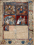 "Opening of text. Large miniature showing four scenes.  Historiated initial.  Full border design including coats of arms and motto ""Sans nombre."" Rubric"