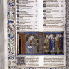 Opening of Deuteronomy, with end of chapter list.  Large miniature, full border with scroll, initials, rubrics, catchword.