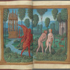 Double miniature:  the angel expelling Adam and Eve from Paradise.