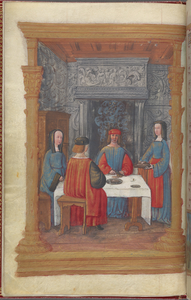 Full-page miniature of feasting, in January.